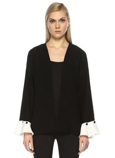 Beymen Collection Volan Kol Crep Ceket Siyah